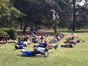 One of several outdoor fitness groups.